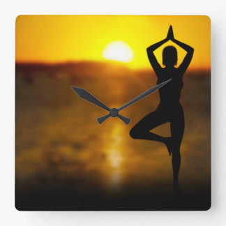 Yoga Female by the Ocean at Sunset Wall Clock