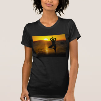 Yoga Female by the Ocean at Sunset Womens T-Shirt