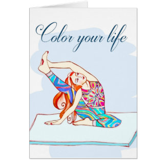 yoga girl- color your life card