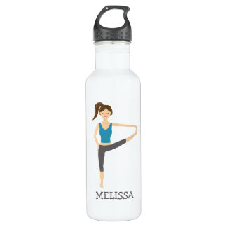 Yoga Girl In Extended Hand To Toe Pose And Name 710 Ml Water Bottle