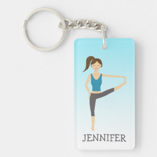 Yoga Girl In Extended Hand To Toe Pose And Name Single-Sided Rectangular Acrylic Keychain