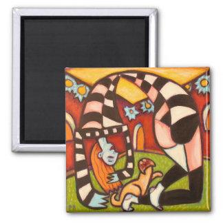 Yoga Girl Square Magnet