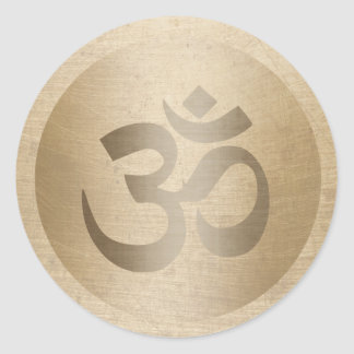 Yoga Gold Circle Om Symbol Classic Round Sticker