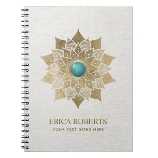 Yoga Gold Lotus Flower Mandala Elegant Linen Notebook