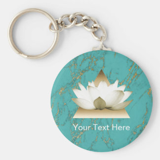 Yoga Gold Lotus Modern Turquoise & Gold Marble Basic Round Button Keychain