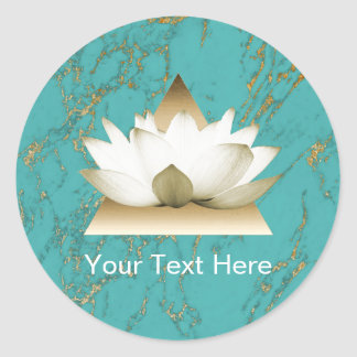 Yoga Gold Lotus Modern Turquoise & Gold Marble Classic Round Sticker