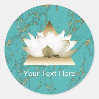 Yoga Gold Lotus Modern Turquoise & Gold Marble Round Sticker