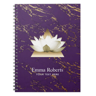 Yoga Gold Lotus Trendy Purple & Gold Marble Notebook