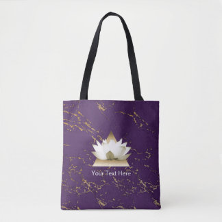 Yoga Gold Lotus Trendy Purple & Gold Marble Tote Bag