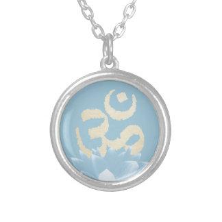 Yoga Gold Om Symbol & Blue Lotus Flower Round Pendant Necklace