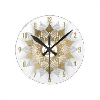 Yoga Gold Om Symbol Lotus Flower Mandala Round Clock