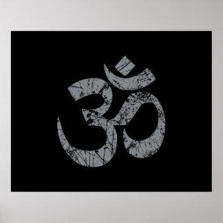 Yoga grunge de spiritualité de symbole d'OM Poster