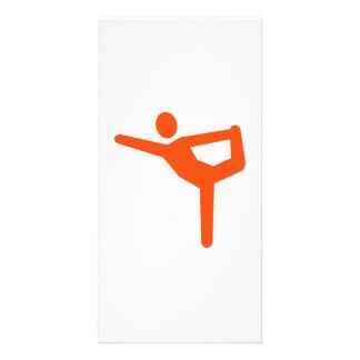 Yoga gymnastics symbol customized photo card