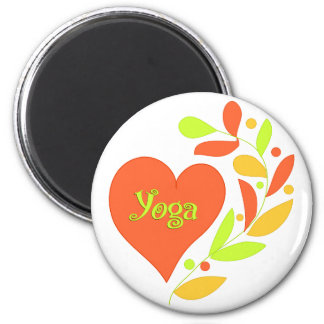 Yoga Heart 2 Inch Round Magnet