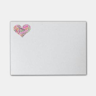 Yoga heart shape words design post-it notes