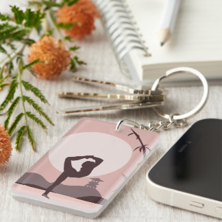 Yoga in Pink Keychain