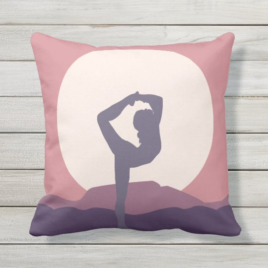 Yoga in Purple Outdoor Pillow