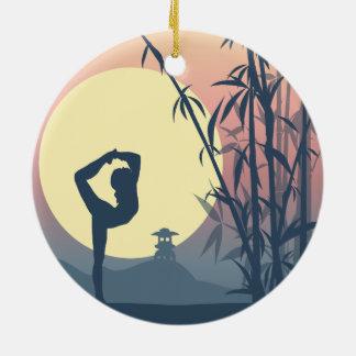 Yoga in the Mist Ceramic Ornament