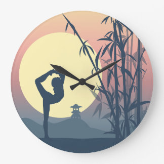 Yoga in the Mist Large Clock