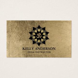 Yoga Instructor Black & Gold Lotus Om Symbol Business Card