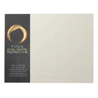YOGA Instructor Black Gold ZEN Sign Glowing Light Notepad