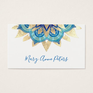 yoga instructor blue and faux gold mandala decor business card