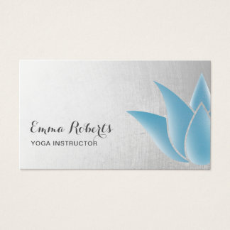Yoga Instructor Elegant Blue Lotus Healing Spa Business Card