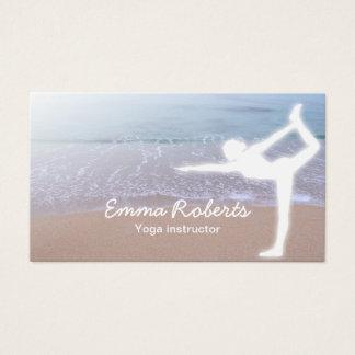 Yoga Instructor Elegant Morning Beach Business Card