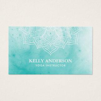 Yoga Instructor Elegant Watercolor Lotus Mandala Business Card