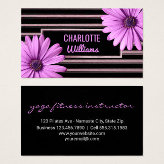 Yoga Instructor | Floral Daisy Stripes Girly Business Card