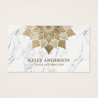 Yoga Instructor Gold Lotus Floral Modern Marble Business Card