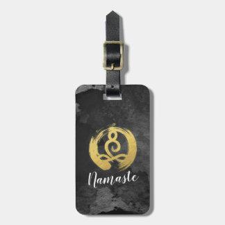 Yoga Instructor Gold Meditation Posture Zen Symbol Luggage Tag