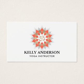 Yoga Instructor Gold & Orange Lotus Om Symbol Business Card