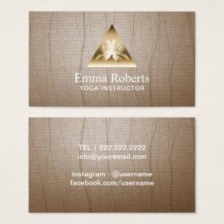 Yoga Instructor Gold Triangle Lotus Logo Vintage Business Card