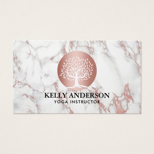 Yoga Instructor Life Coach Rose Gold Tree Marble Business Card