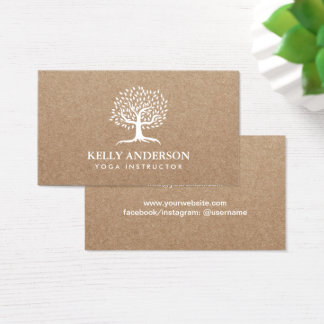 Yoga Instructor Life Tree Rustic Kraft Business Card