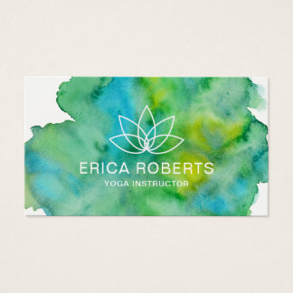 Yoga Instructor Lotus Floral Logo Watercolor Business Card