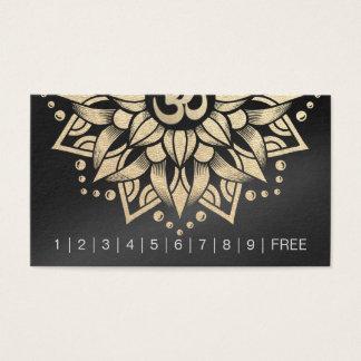 YOGA Instructor Loyalty Punch Gold Mandala Om Sign Business Card