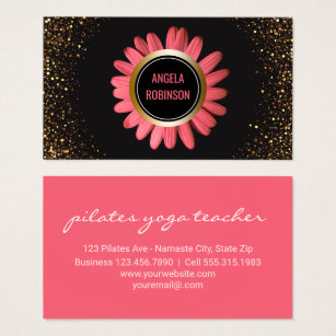 Yoga instructor business cards business card printing zazzle ca yoga instructor pink daisy gold glitter black business card colourmoves