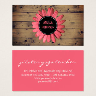 Yoga Instructor | Rustic Wood Pink Daisy Flower Business Card