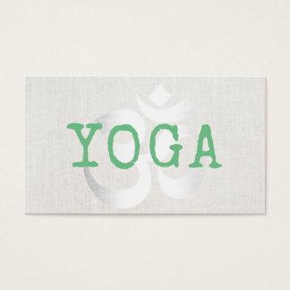 Yoga Instructor Silver Om Sign Elegant Linen Business Card
