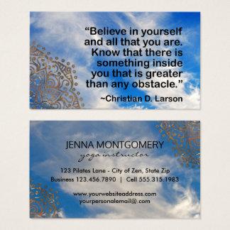 Yoga Instructor Sky | Motivational Quote Mandalas Business Card