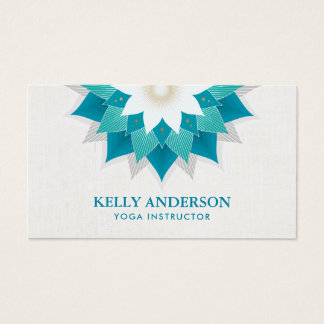 Yoga Instructor Teal Lotus Floral Business Card