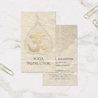 Yoga Instructor Vintage Bodhi Leaf Gold OM Symbol Business Card