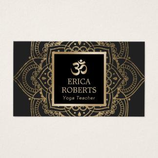 Yoga Instructor Vintage Gold Mandala Dark Grey Business Card