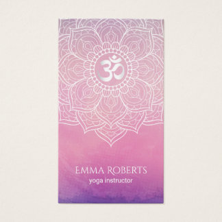 Yoga Instructor Watercolor Lotus Mandala Namaste Business Card