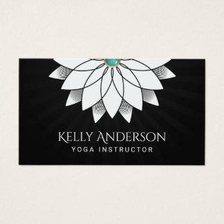 Yoga Instructor White Lotus Floral Mandala Business Card