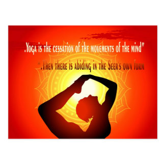"""""""Yoga is the cessation of the movements of mind"""" Postcard"""