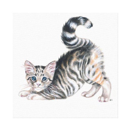 yoga kitten canvas print