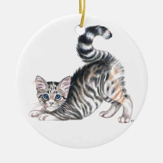 yoga kitten ceramic ornament